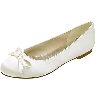 Amazon.com   Loslandifen Women\'s Satin Flats Elegant Round Toe ...