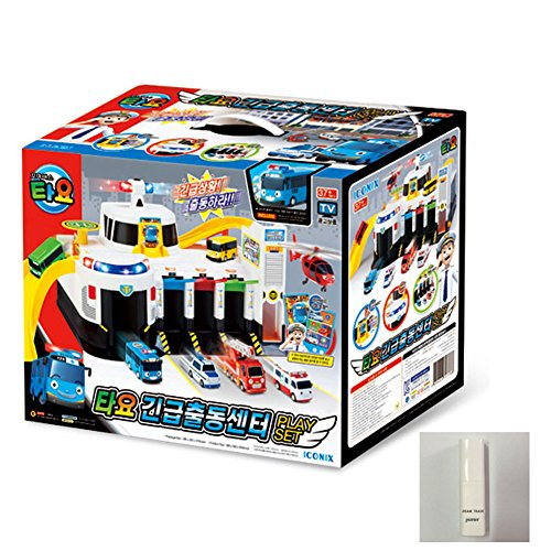 TAYO Emergency Response Center Dispatch Play Set plus Tayo Special Friends14 ea &JISMA TRADE Toy Sanitizer 30ml & English User's Guide on How to Play. by Tayo