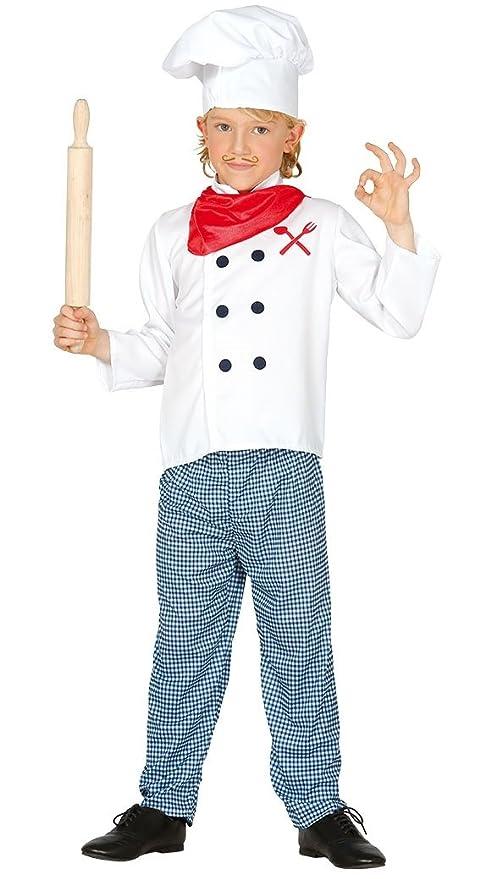 Costume vestito cuoco cuoca chef carnevale bambino bambina taglia 5-6 anni ffb1f7ef5bdf