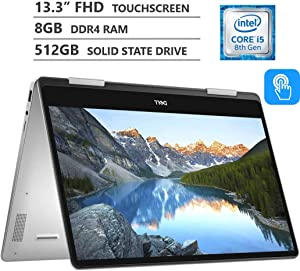 "Dell Inspiron 13 7000 Series 2-in-1 13.3"" Full HD IPS Touchscreen Laptop, Intel Core i5-8265U up to 3.90GHz, 8GB RAM, 512GB M.2 SSD, Backlit Keyboard, HDMI, Wireless-AC, Bluetooth, Windows 10, Silver"