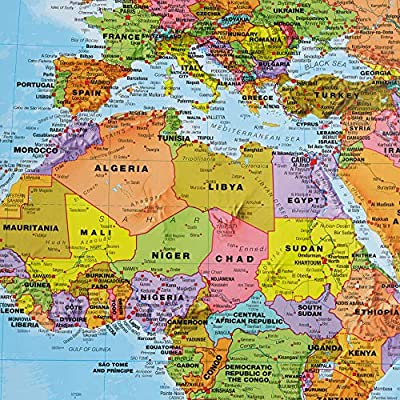 Maps International - Mapa del mundo gigante, póster político con el mapa del mundo, plastificado - 197 x 116,5 cm: Amazon.es: Oficina y papelería