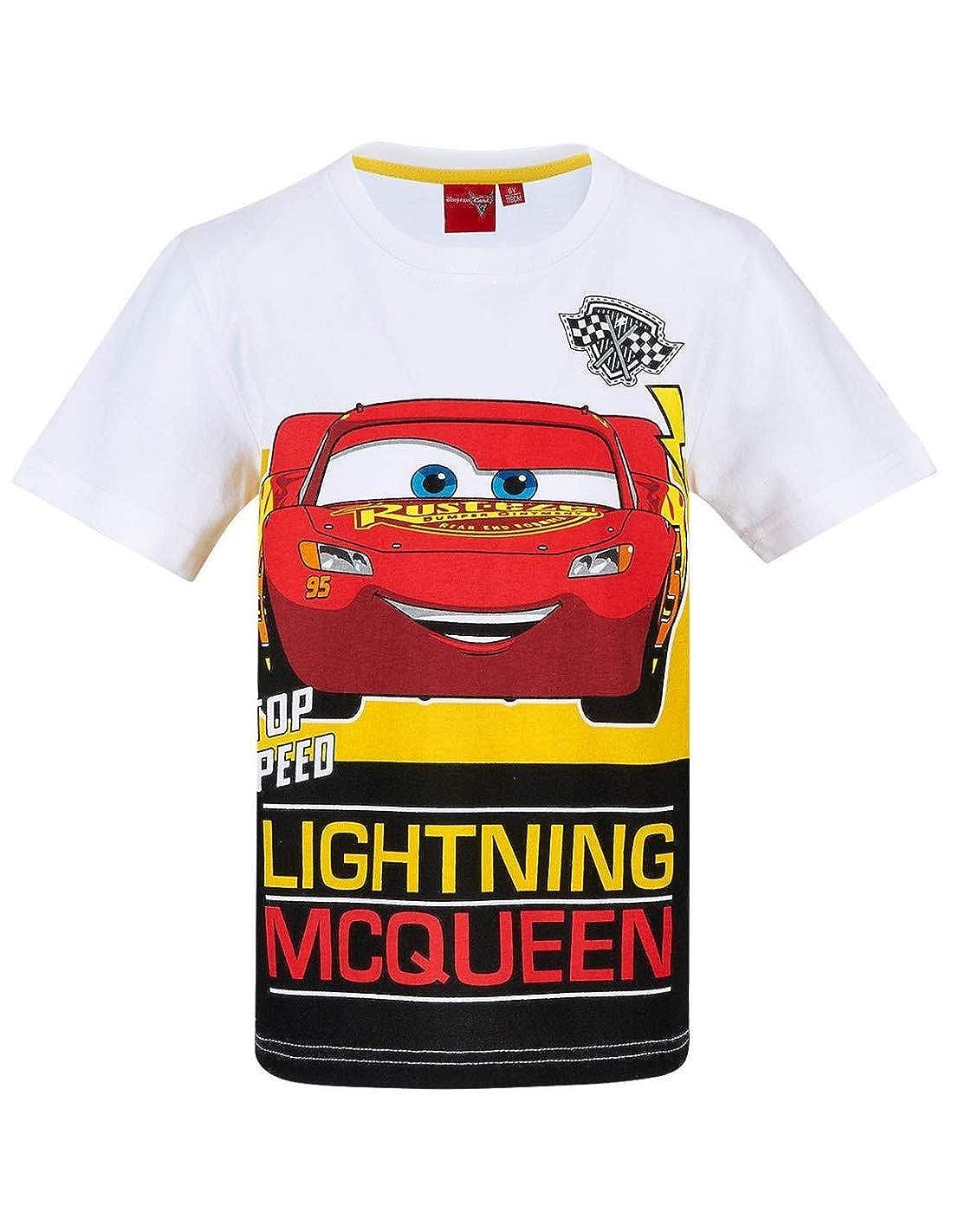 Flash Mc Queen T-Shirt Manches Courtes Enfant gar/çon Cars Blanc de 3 /à 8ans