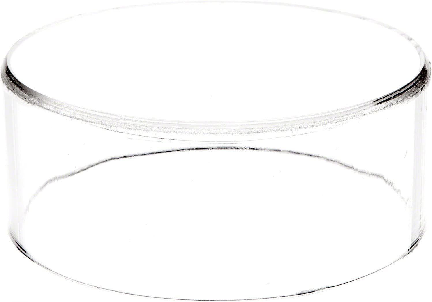 Plymor Clear Acrylic Round Cylinder Display Riser, 2 inches (Height) x 5 inches (Depth)