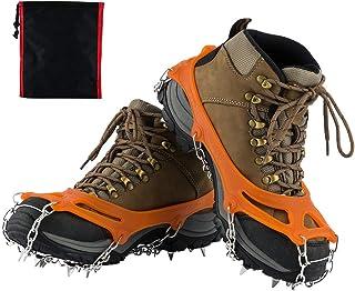 SKYSPER Crampon à Neige Antidérapant Chaussures à 19 Dents Chaîne en Acier Inoxydable Crampons Chaussure l'hiver Marche Randonnée Alpinisme Escalade Trekking Taille M - XL