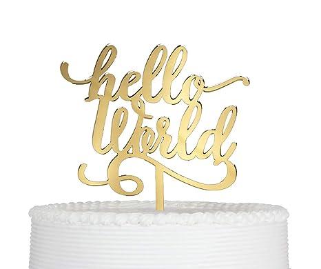Amazon.com: Hello World - Decoración para tartas, para ...