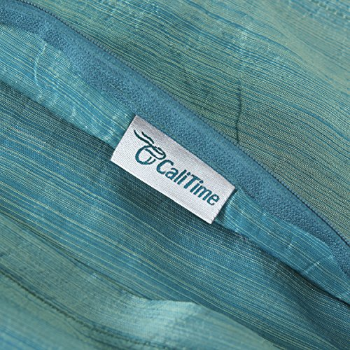 CaliTime Pack of 2, Silky Throw Pillow Covers Cases for Couch Sofa Bed, Modern Light Weight Dyed Striped, 20 X 20 Inches, Teal