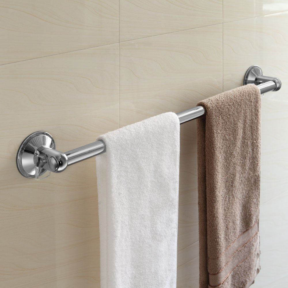 Where To Put Towel Bars In Bathroom: Towel Bar Rack Holder Chrome Mount Suction Bathroom Bath