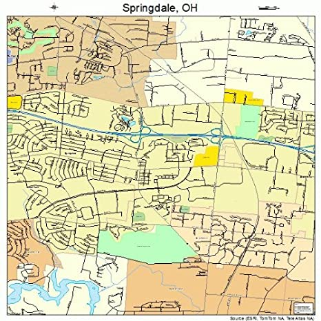 Springdale Ohio Map.Amazon Com Large Street Road Map Of Springdale Ohio Oh Printed
