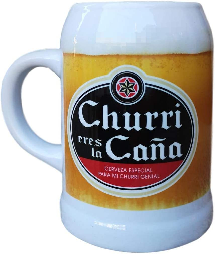 Jarra DE Ceramica Frase : CHURRI Eres LA CAÑA Cerveza Especial para MI CHURRI Genial Regalo Pareja Regalo San Valentin
