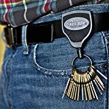 KEY-BAK SUPER48 Locking Retractable Keychain, Black Polycarbonate Case, Steel Belt Clip, Oversized Split Ring and Made in the USA