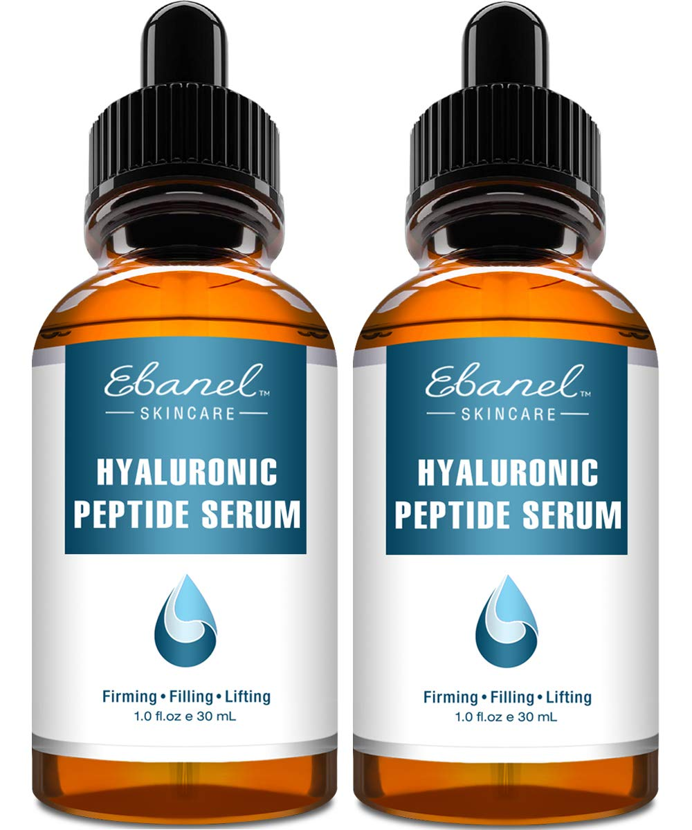 Ebanel Hyaluronic Acid Serum for Face with Peptides, Deep Hydrating Anti Aging Serum, Visibly Plump, Firm & Smooth Skin, Reduce Redness with Vitamin E and B5, Aloe Vera, Jojoba Seed Oil, 2-Pack