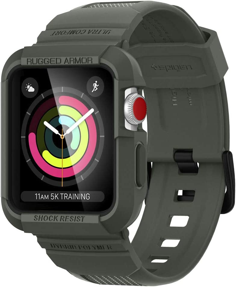 Spigen Rugged Armor Pro Designed for Apple Watch Band with Case for 42mm Series 3/Series 2/1/Original (2015) - Military Green