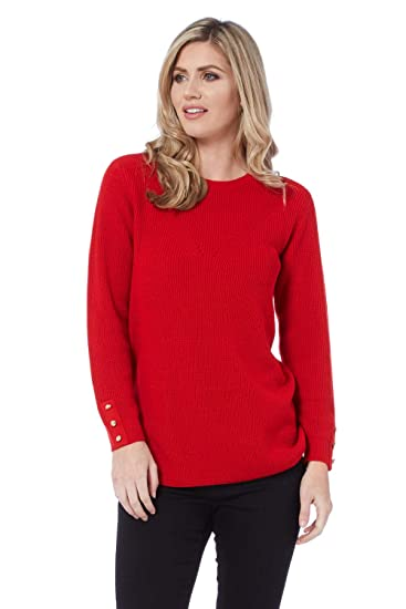 6c5ca2ecf06c41 Roman Originals Women Rib Knit Detail Tunic Jumper - Ladies Everyday  Festive Winter Autumn Going Out Knitwear Tunics Jumpers - Red - Size 18   Amazon.co.uk  ...