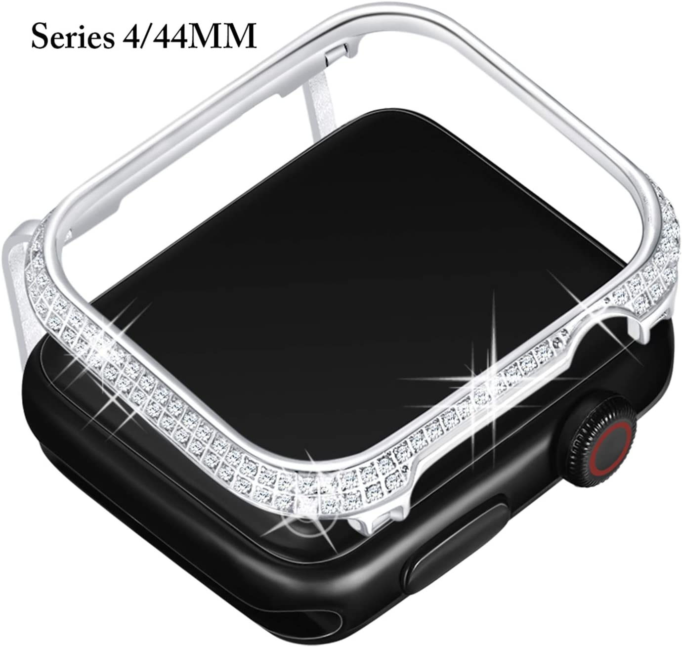 Callancity 44mm Metal Face Cover Plated Platinum Rhinestone White Crystal Diamond Case Compatible for Apple Watch Series 6 5 4 For Men/Women (44MM Platinum)