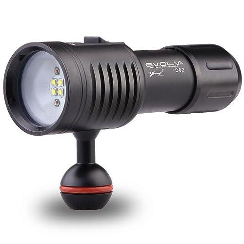 Evolva Future Technology D02 plongée sous-marine 100M vidéo / photographie torche de lumière lampe de poche