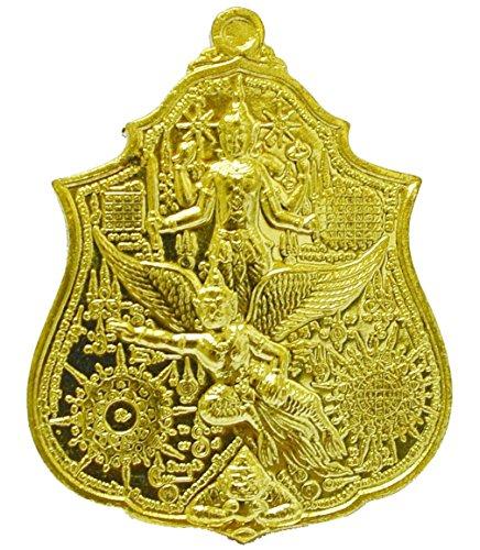 Thai Jewelry Amulet Happy for Life Protection Magic Talisman Art Lucky Magic Thai Buddha Amulet Talisman Narai on Krut Garuda By Lp Kalong Khewkhaw ()