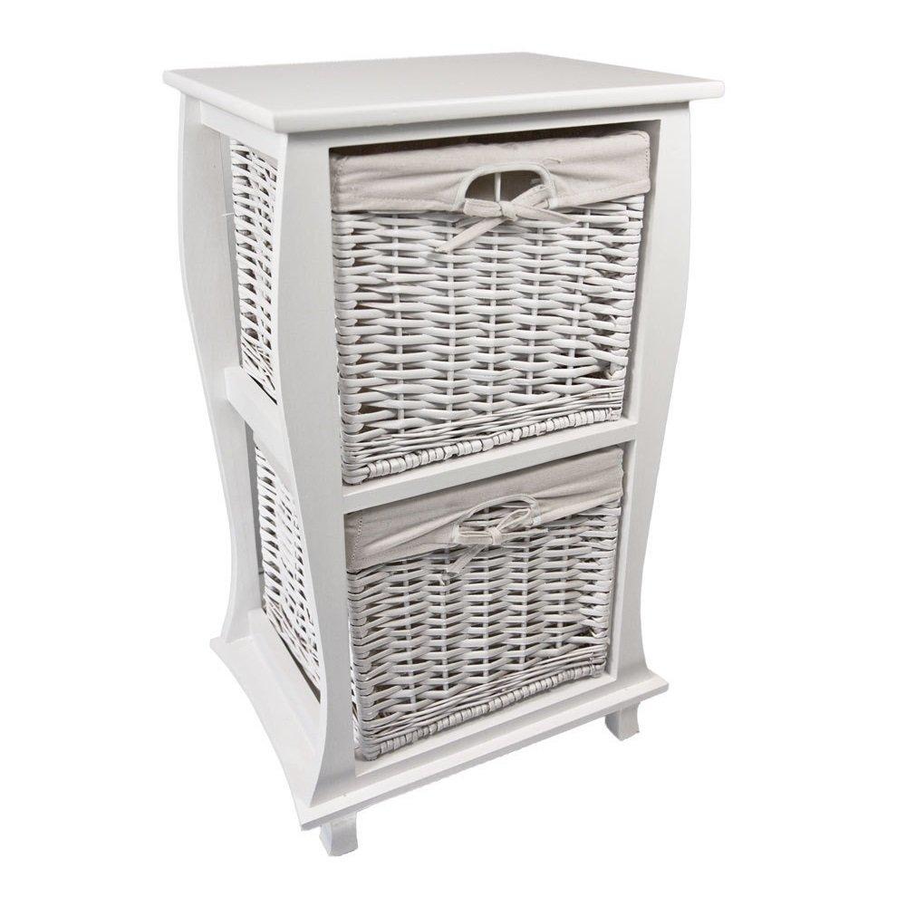 NEG Korbregal LIEVE (weiß) Schubladenschrank Kommodenschrank aus Echtholz mit Korbgeflecht und Baumwoll-Einlage