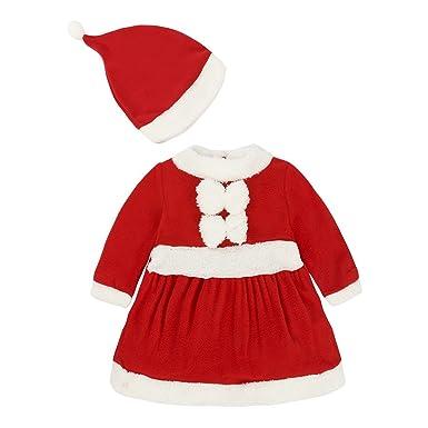 Amazon.com: Bebé niñas Papá Noel overol Pelele vestido ...