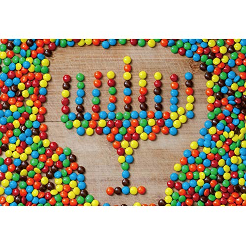 Leyiyi Thanksgiving Day Happy Hanukkah Party Backdrop 5x3ft Polyester Photography Backdrop Chocolate Candy Shaped Hanukkah Menorah Family Friends Party Decoration Photo Booth Studio Props