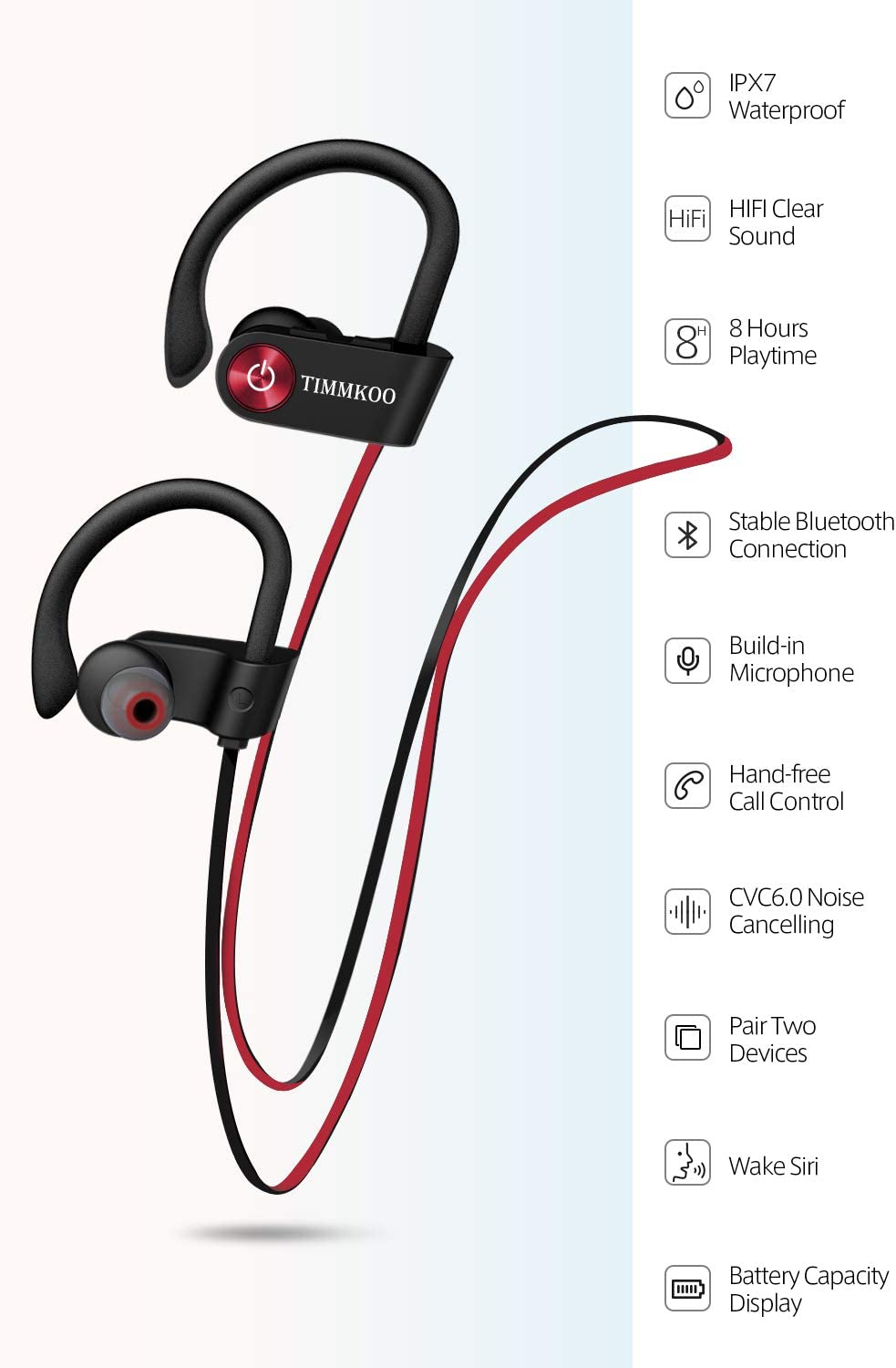 Bluetooth Headphones IPX7 Waterproof, Wireless Running Earbuds Bluetooth 4.1, HiFi Bass Stereo Sweatproof Earphones w Mic, Noise Cancelling Headset for Workout, Sports, Gym, 8 Hours Play Time
