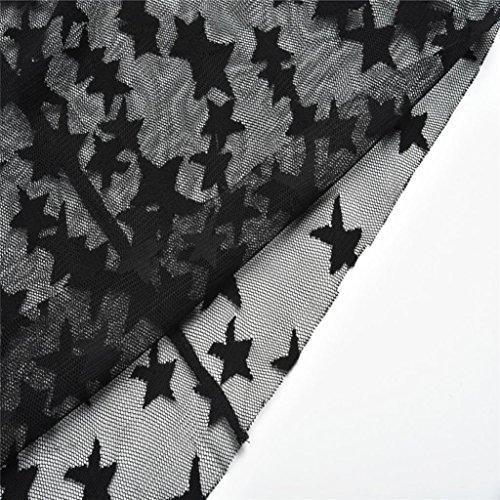 Crystell Mode Robe Sexy, Manches Astre Du Cou Des Femmes Longues Dentelle Moulante Design Élégant Soir Soirée Courte Mini-robe Noire