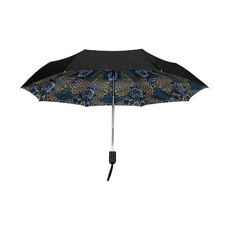 aideess exterior negro paraguas leopardo flor azul UV anti ligero sombrilla elegante reverso 3 plegable gota