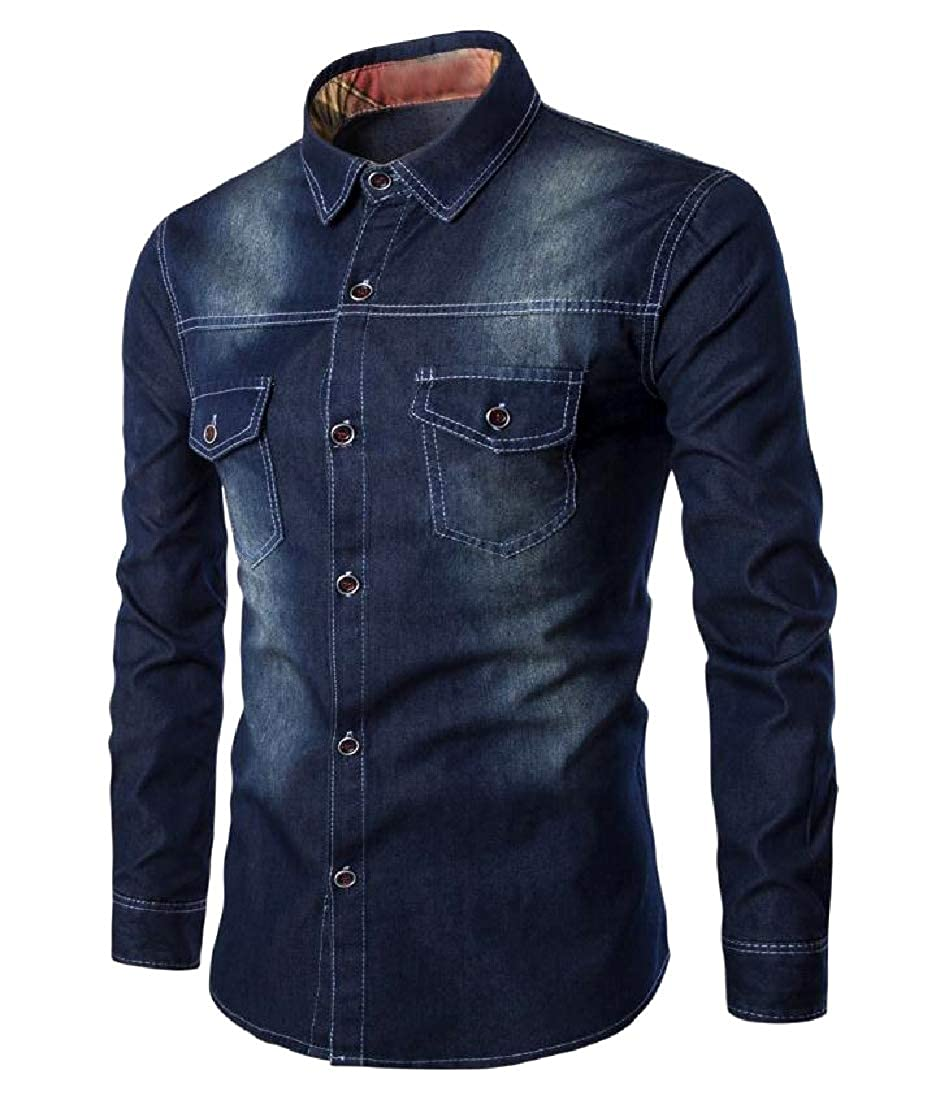 Tootless-Men Large Size Two Front Pockets Wrinkle-Free Denim Shirt