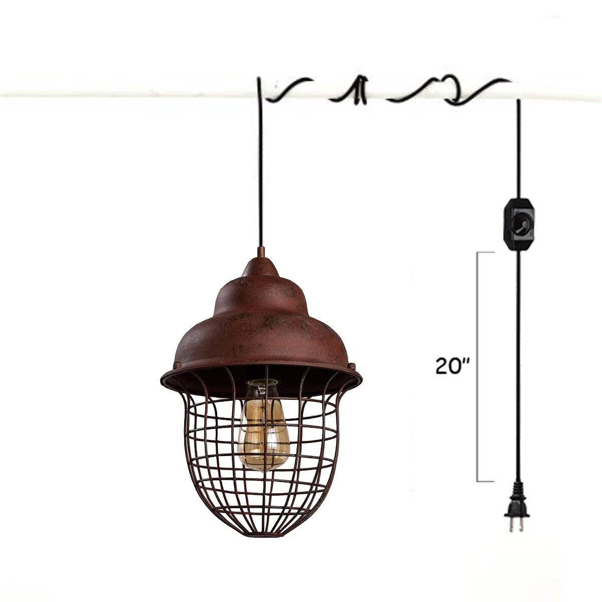 Pendant light kit Large Ceiling Rose Pendant Kiven Vintage Rusty Pendant Light Kit Cord With Dimming Switch And Ul Plug E26e27 Industrial Light Socket Lamp Holder 15ft Black Cable Plug In Hanging Amazoncom Kiven Vintage Rusty Pendant Light Kit Cord With Dimming Switch And