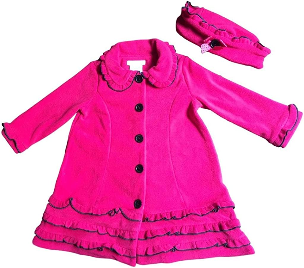 Bonnie Jean Girls Baby Ruffled Fleece Coat and Hat Set Fuschia