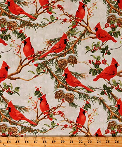 - Cotton Cardinals Birds Pine Branches Pinecones Snowflakes Winter Christmas Holiday The Cardinal Rule Cotton Fabric Print by The Yard (D504.44)
