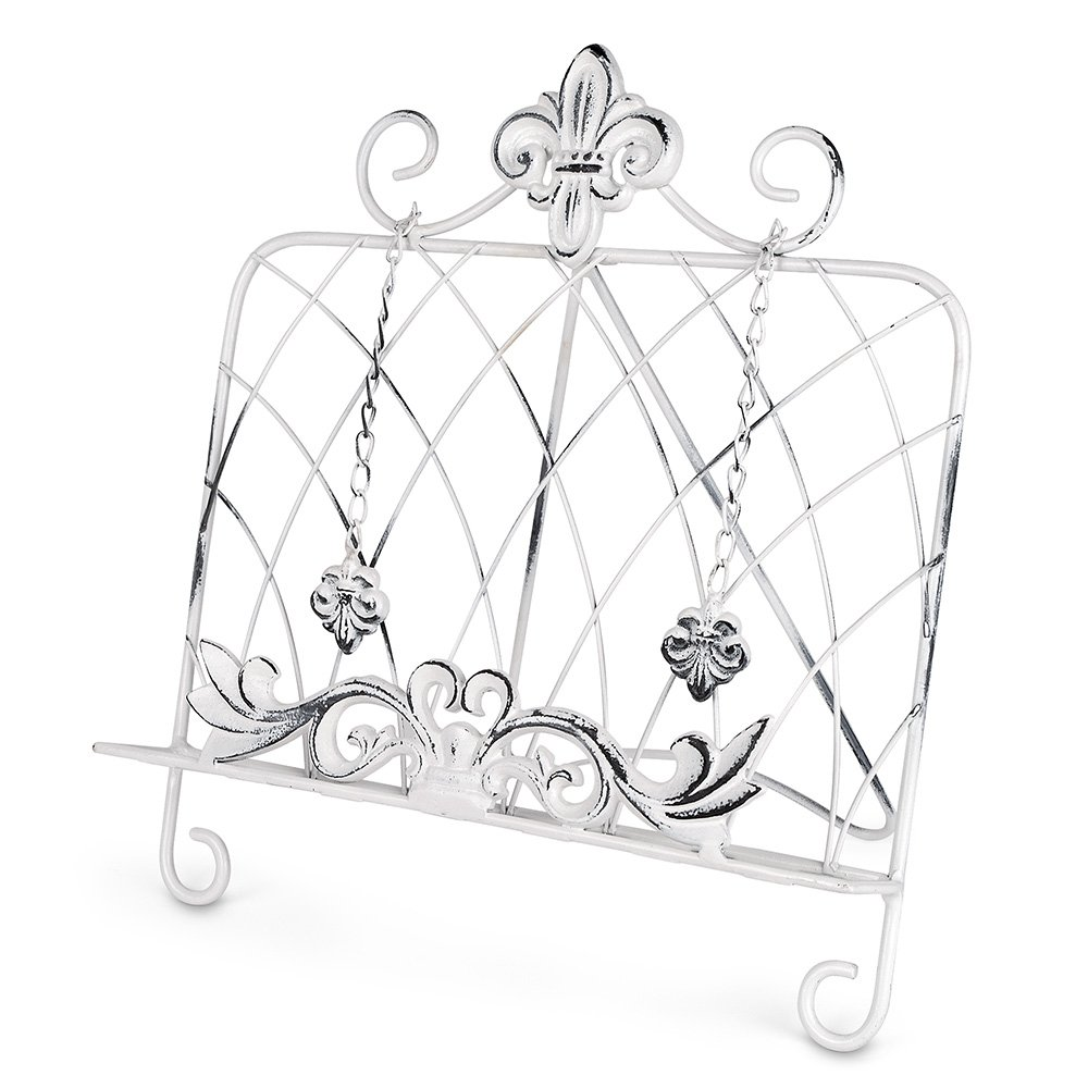 Epic Products Fleur De Lis Cookbook Stand, White 11-044