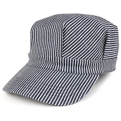 Oversized Men's Classic Denim Stripe Conductor Engineer Cotton Cap - 2XL - Blue/White
