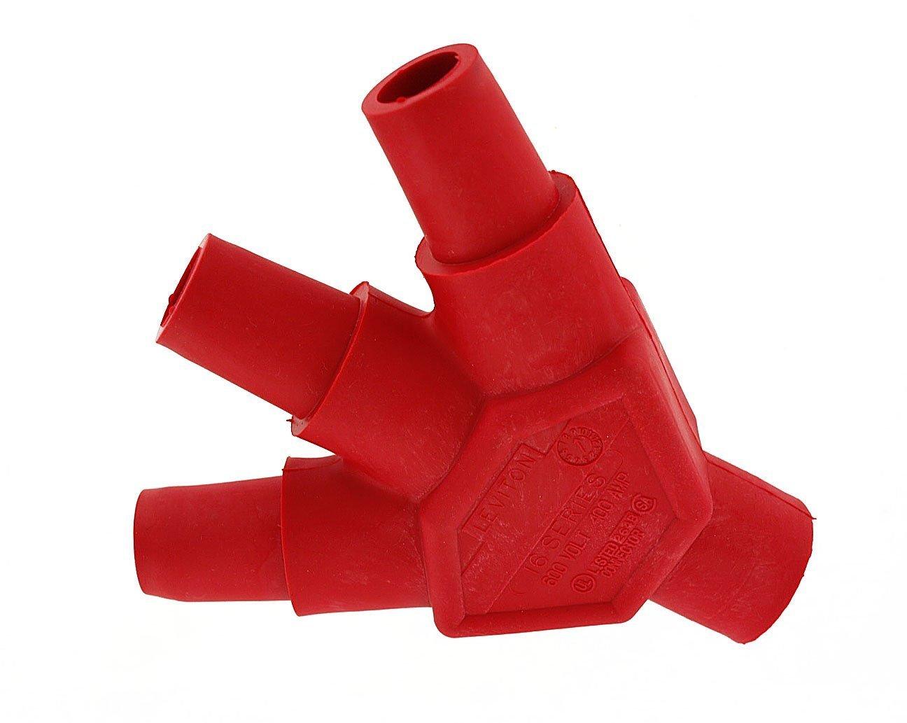 Leviton 16A23-UR 16-Series Taper Nose, Male-Female-Female-Female, Cam-Type Multi-Way Connector, Red