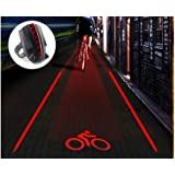 Huluwa Bike Tail Light Bicycle Cycling Projector Tail Light Warning Lamp, 2 Lasers 5 LEDs Super Bright, Water Resistant