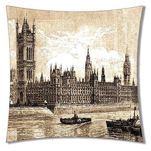 Lumimi Square Unique Decorative Throw Pillow Case Cushion Cover Big Ben City Pattern Printed 01 ( 20*30 -