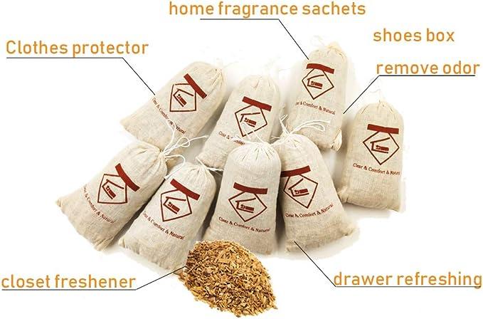 L.M./& L.W.Cedar Wood Sachets Substitute Cedar Balls Cedar Blocks Lavender Sachets for Closets and Drawers Keep Clothes Storage Fresh Pack of 8