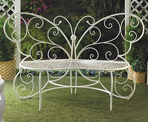 - Butterfly Bench, White Butterfly Decorative Benches, Butterflies Wings Metal Loveseat, Whimsical Fairy Garden Decor, Childrens Outdoor Furniture