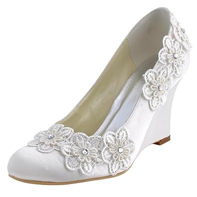 ElegantPark WP1416 Women Closed Toe Pumps High Heel Wedges Flowers Appliques Satin Wedding Bridal Shoes Ivory
