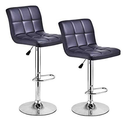 Amazon Com Costway Set Of 2 Swivel Bar Stools Bonded Back