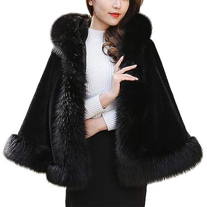 HTL Indossabile Capo Poncho Autunno Inverno Corto Cappotto da Donna s Scialle Cappotto in Pelliccia Sintetica Mantello Caldo,Grigio,Taglia Unica