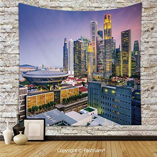 FashSam Tapestry Wall Hanging Skyline of Singapore at Evening Skyscrapers Stadium Active City Life Southeast Asia Decorative Tapestries Dorm Living Room Bedroom(W39xL59)