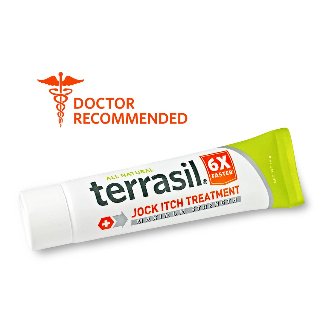 Jock Itch Treatment MAX - 6X Faster Than Leading Brands Dr. Recommended 100% Guaranteed All Natural Antifungal Ointment Treats Tinea Cruris Relieves Itch Irritation by Terrasil® 14 grams