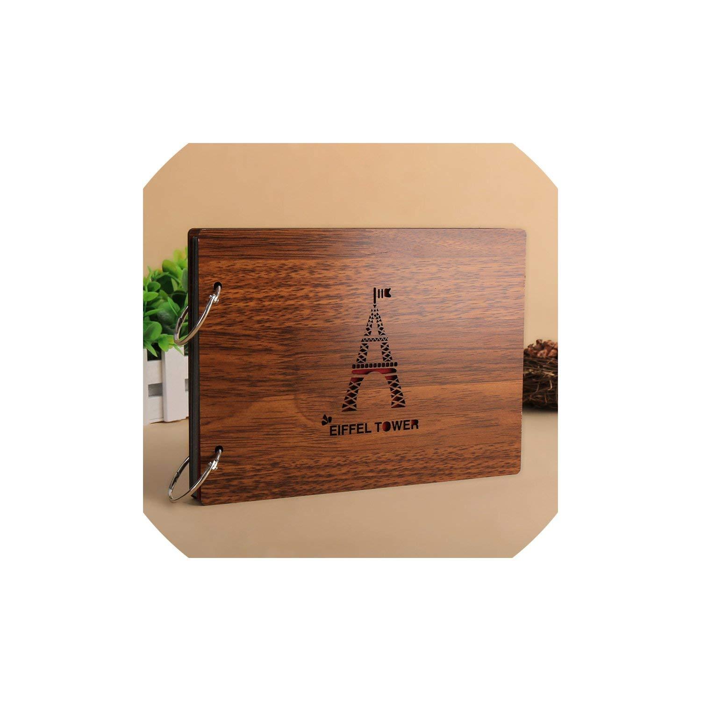 Photo Album 8 Inch Wood Cover Albums Handmade Loose-Leaf Pasted Photo Album Personalized Baby Lovers DIY Wedding Memorial Photo Album,C