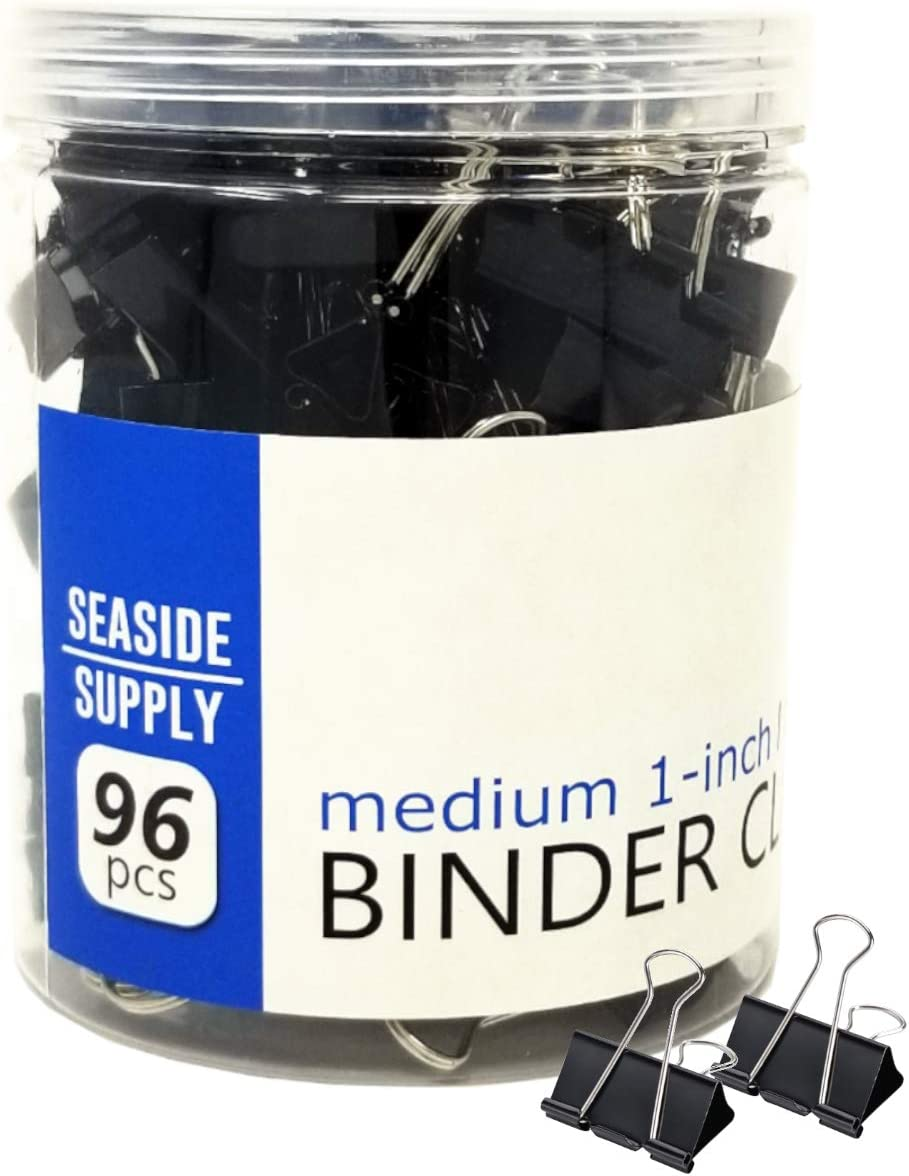 Seaside Supply, Binder Clips 1-inch, Medium Paper Clamps, Black 96 Count, Office Supplies, Paper Clips…