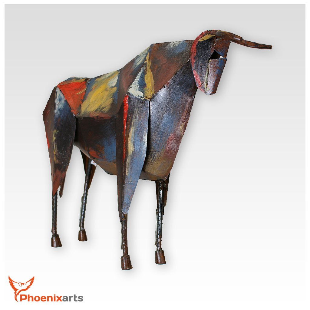 Phoenixarts Metall Eisen Skulptur Stier (47x36x10) Vintage Dekofigur Tier Eisenskulptur Figur 411