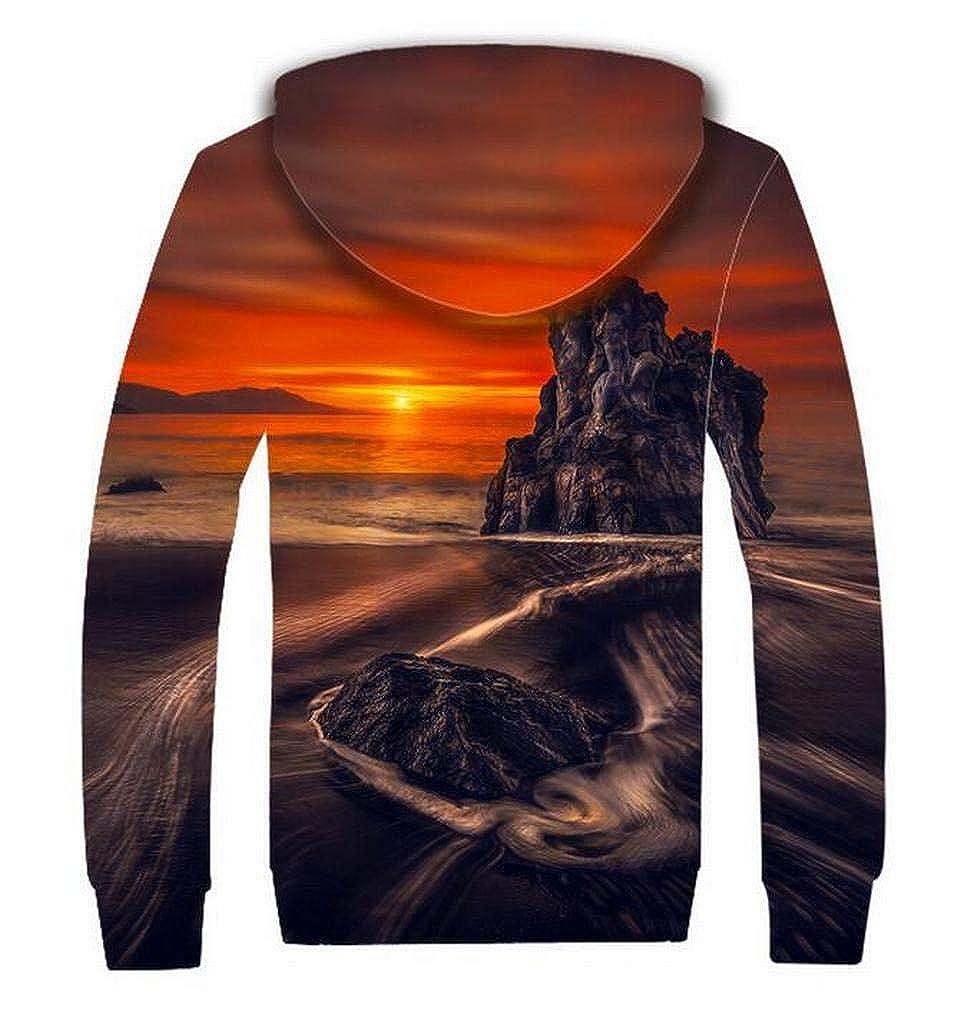 Jofemuho Men Casual Long Sleeve Relaxed Fit 3D Print Faux Fur Line Hoodie Sweatshirt Coat