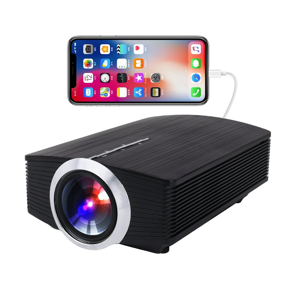 Video Projector With Tripod, Touyinger 1500 Lumens Home Entertainment Video Projector Support Multimedia HDMI USB VGA, For iPhone/iPad AirPlay by USB Charging Cable by Touyinger