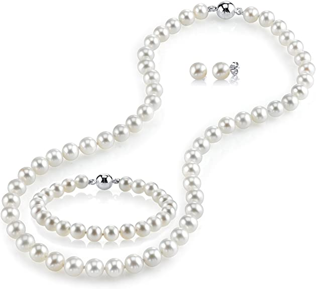 Thin Delicate Minimal Dainty Jewelry Set Bracelet with White Cultured Pearl Blue Agate and 925 Sterling Silver Gift Ideas for Women,Girls