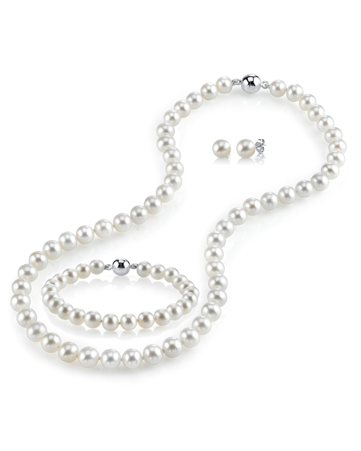 THE PEARL SOURCE AAAA Quality 8-9mm Round White Freshwater Cultured Pearl Necklace, Bracelet & Earrings Set with Sterling Silver Magnetic Clasp for Women