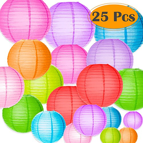 selizo 25 Packs Paper Lanterns Decorative with Assorted Colors and Multi Sizes for Party Decoration (Color Lanterns)
